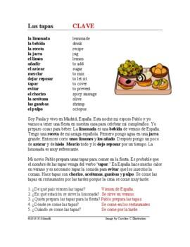 Las tapas Lectura y Cultura - Spanish Reading on Spanish Food