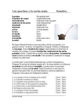 Los gauchos y la yerba mate Lectura Cultural - Gauchos Spanish Reading