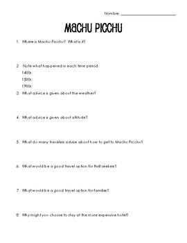 Spanish Cultural Reading:  Machu Picchu - Present Subjunctive