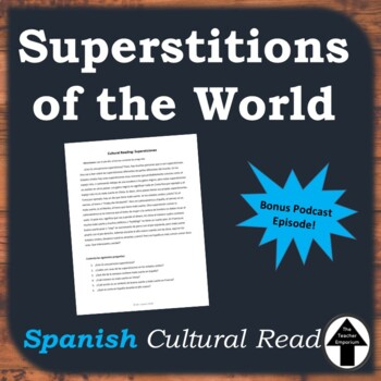 Spanish Cultural Reading Superstitions of the World No Prep Substitute Plan
