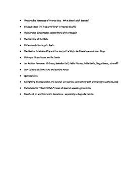 Spanish Cultural Research Topics