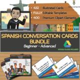 SPANISH Conversation Cards BUNDLE - Beginner to Advanced S