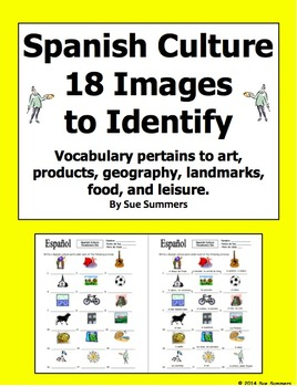 Spanish Culture 18 Image IDs Worksheet and Vocabulary List