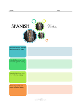 Spanish Culture:  A Fillable Fact-Finding Sheet