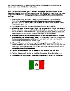 Spanish Culture Paper/Essay/Sub Plan: Plan a Trip to Mexico