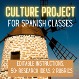 Spanish Culture Project Presentation with Student Instructions and Rubrics