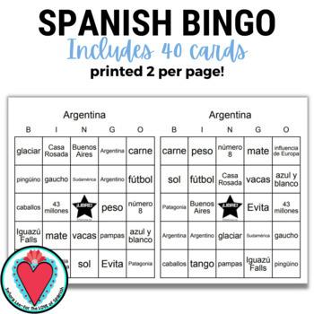 Spanish Bingo - Argentina Cultural Unit
