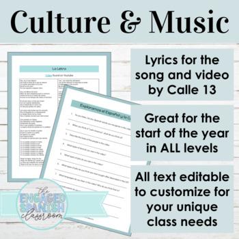 """Spanish Culture through Music: Lyrics & Activities for Calle 13 """"Latinoamerica"""""""