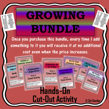 Spanish Cutouts GROWING BUNDLE - Hands-On Grammar Practice