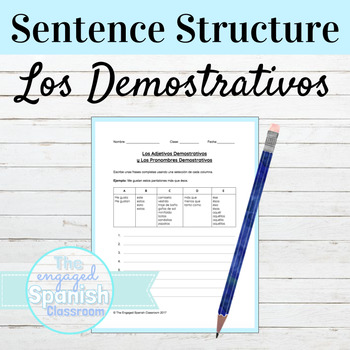 Free Spanish Demonstrative Adjectives Grammar Worksheet