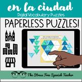 Spanish DIGITAL Puzzles CIUDAD City Around Town Vocabulary