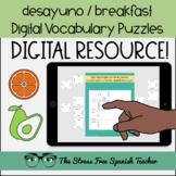 Spanish DIGITAL Puzzles EL DESAYUNO breakfast LA COMIDA food