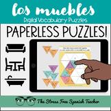Spanish DIGITAL Puzzles LOS MUEBLES en la CASA house furniture vocab