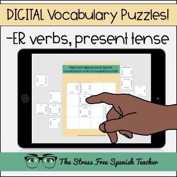 Spanish DIGITAL Vocabulary Puzzle -ER Verbs, Present Tense Conjugation