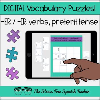 Spanish DIGITAL Vocabulary Puzzles ER / IR verbs in the PRETERIT Tense