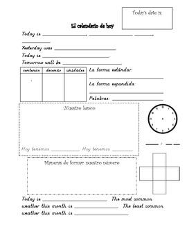 Spanish Daily Calendar Math