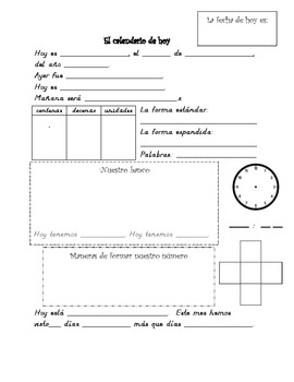 Spanish Daily Calendar Math