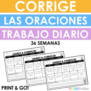 Spanish Daily Editing for 2nd Grade! Corregir oraciones! Yearlong!