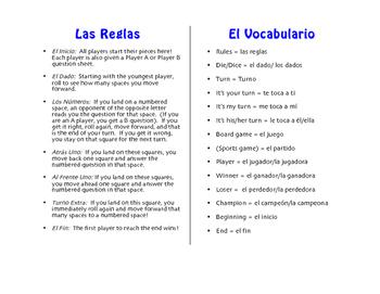 Spanish Daily Errands Board Game