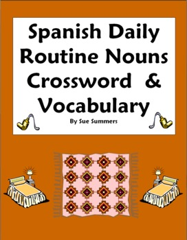 spanish daily routine crossword images word list substitute lesson. Black Bedroom Furniture Sets. Home Design Ideas
