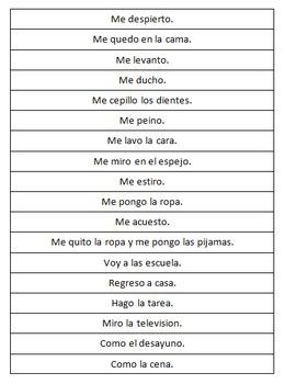 Spanish Daily Routine (Rutina Diaria) Sentence Ordering Activity