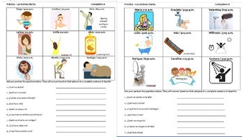 Spanish Daily Routines / Reflexive verbs  Q+A Practice