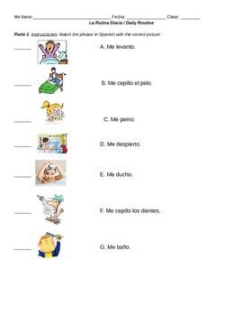 Spanish Daily Routines / Rutinas Diarias