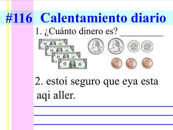 Second Grade Spanish Daily Warm-up #2 (Calentamiento Diario #2)