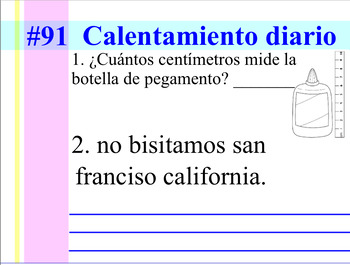 Second Grade Spanish Daily Warm-up #2 (Calentamiento Diario #2)