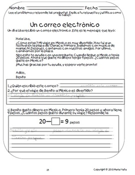 1st grade Spanish Daily Work book- 1st Quarter