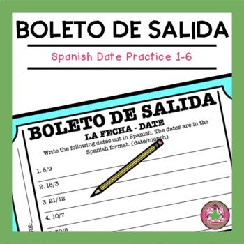 Spanish Date Exit Slip (1-6)
