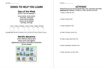 La fecha / Spanish Date - Learning Packet