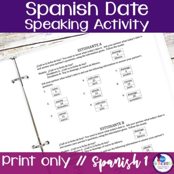 Spanish Date (La Fecha) Speaking Activity