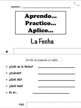 Spanish Date Tab Book