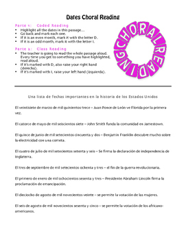 Spanish Dates Choral Reading