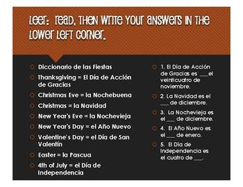 Spanish Dates Four Square Activity