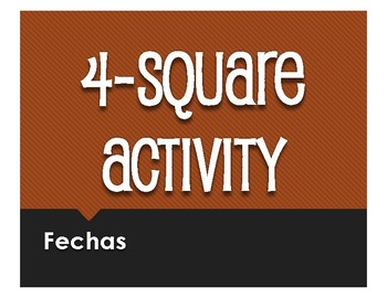 Spanish Dates Four Square Activity
