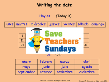 Spanish Dates Lesson plan, PowerPoint (with audio), Cards and Activity