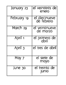 Spanish Dates Memory Game - Las Fechas en Espanol, Juego de Memoria
