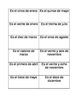 Spanish Dates Ordering Game/La Fecha