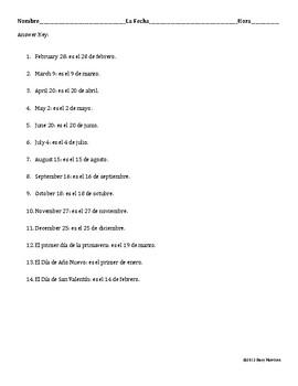 Spanish Dates Practice Worksheet (La Fecha)