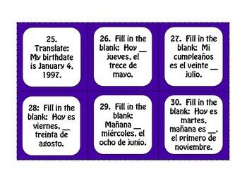 Spanish Dates Task Cards