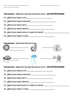 Spanish Dates and Weather Homework