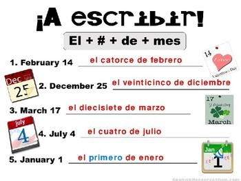 Spanish Dates with Oral Practice and Flashcards