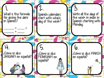 Spanish Days, Months, and Dates Task Cards
