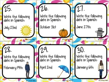 48 Spanish Days, Months, and Dates Task Cards