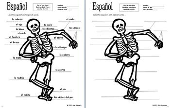 Spanish Day of the Dead / Halloween Body Parts Label the Skeleton Activity