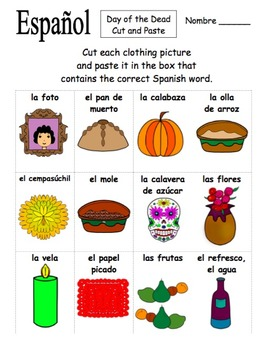 Spanish Day of the Dead Cut and Paste / Game Cards - Día de los Muertos