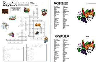 Spanish Day of the Dead Crossword Puzzle and Vocabulary