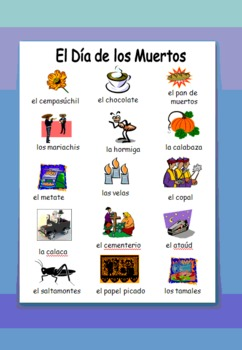 Spanish Day of the Dead / Dia de los Muertos Images & Vocabulary